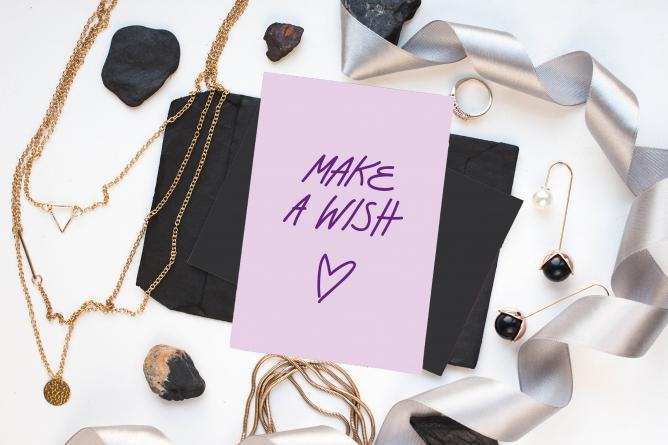 Postkarte make a wish