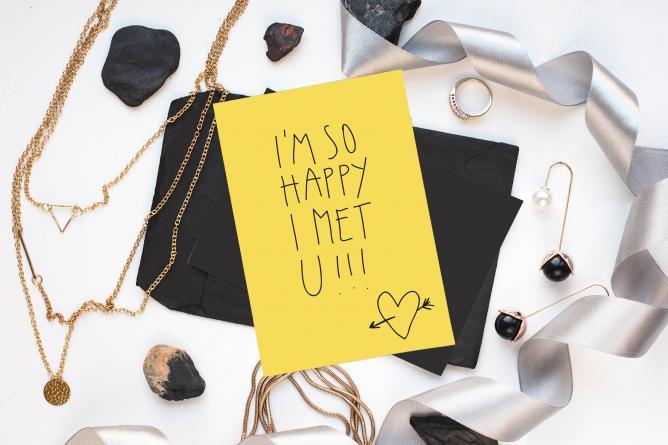 Postkarte happy i met you