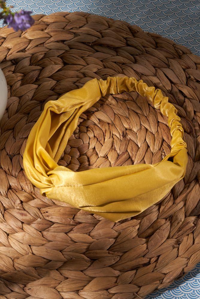 Haarband - gelbes Satinhaarband mit Knoten
