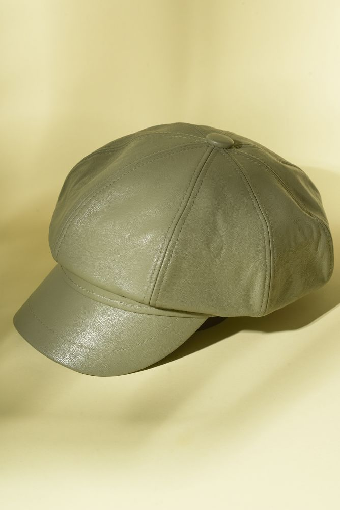 Mütze - olivfarbene Ballonmütze aus Lederimitat