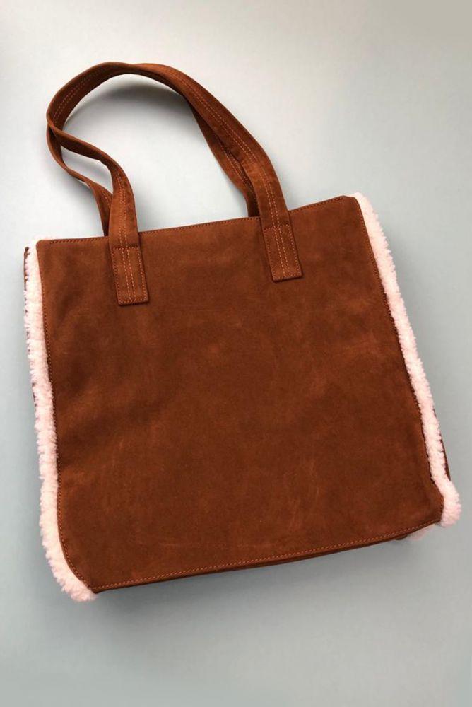 Shopper Tasche - Tasche aus Wildlederimitat