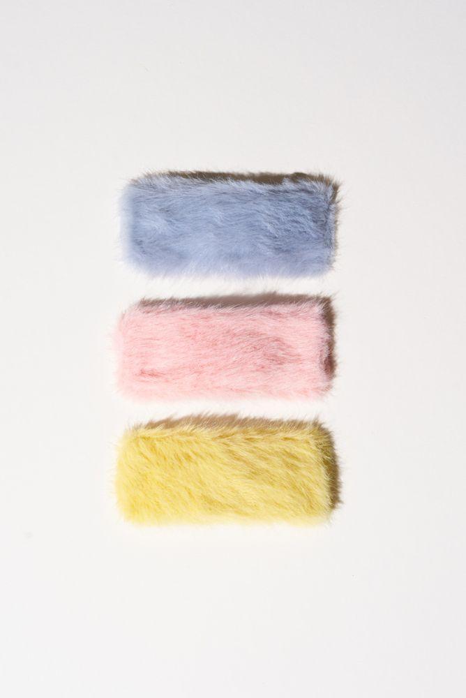Plüsch Haarspangen in Pastellfarben